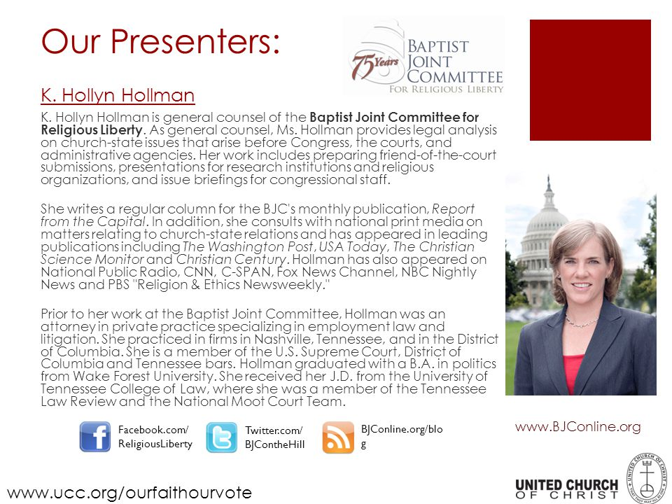 K.Hollyn Hollman is general counsel of the Baptist Joint Committee for Religious Liberty.