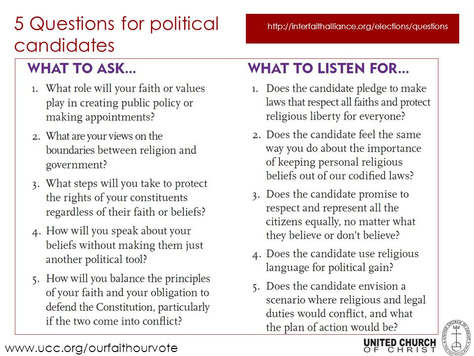 5 Questions for political candidates www.ucc.org/ourfaithourvote http://interfaithalliance.org/elections/questions