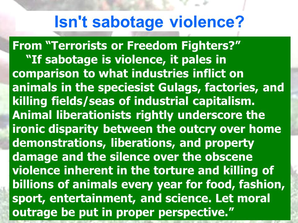 Isn t sabotage violence. From Terrorists or Freedom Fighters.