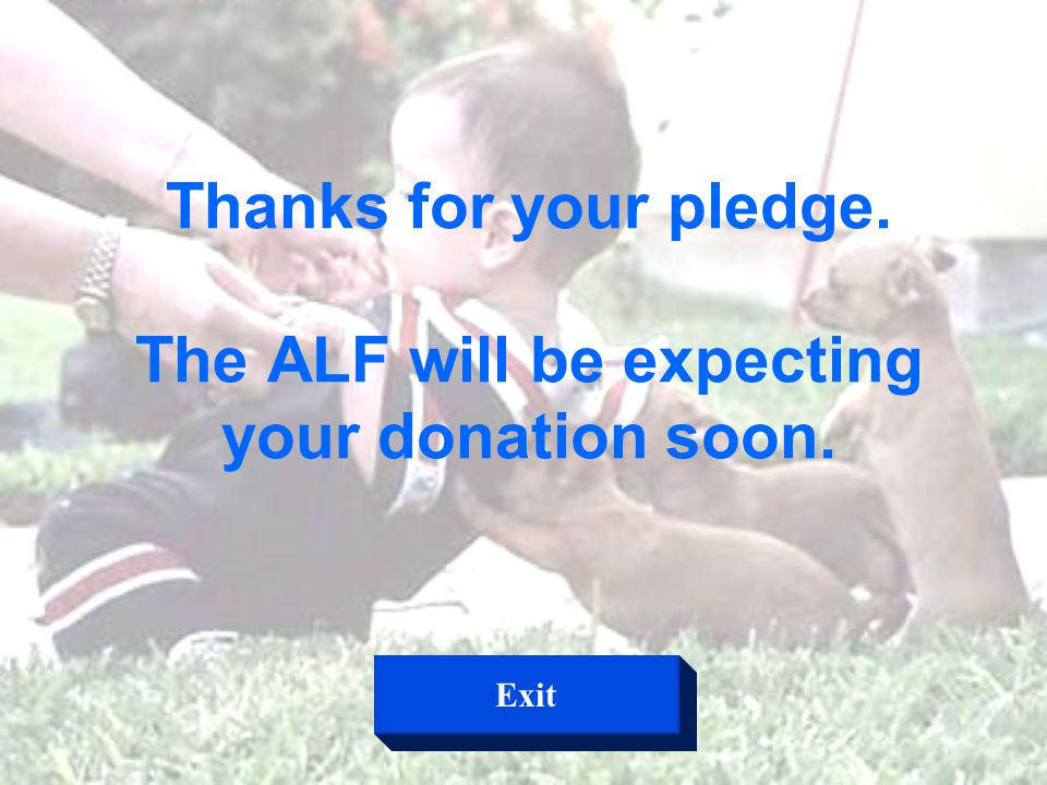 Thanks for your pledge. The ALF will be expecting your donation soon. Exit