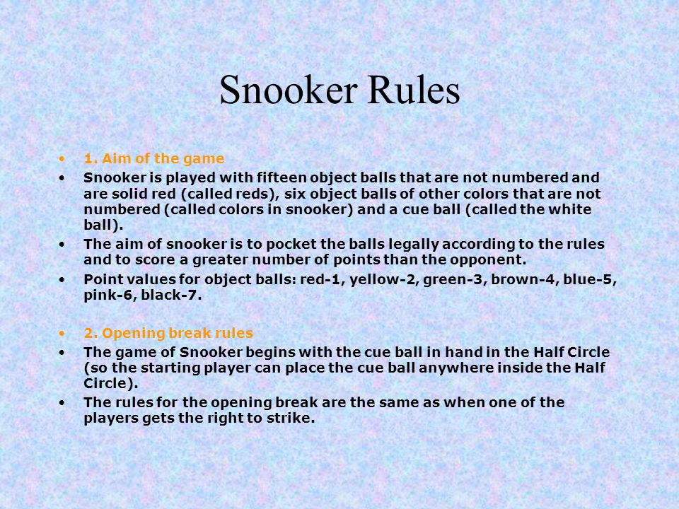 Snooker Rules 1.