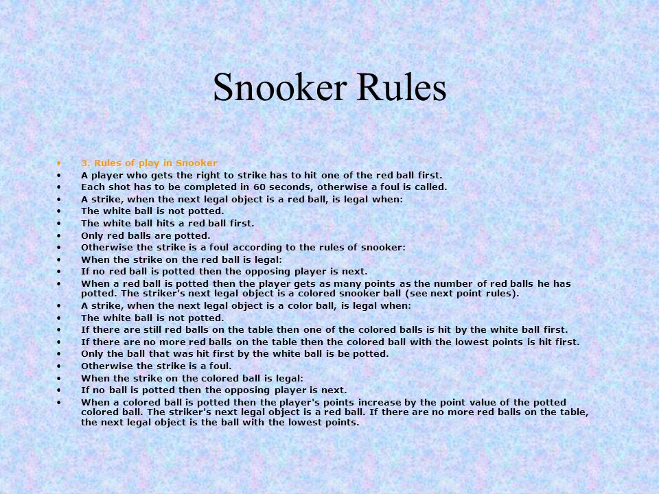 Snooker Rules 3.