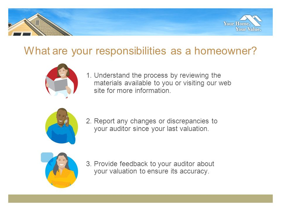 What are your responsibilities as a homeowner. 1.