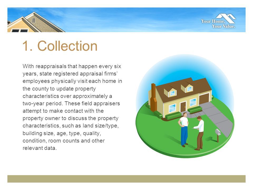 1. Collection With reappraisals that happen every six years, state registered appraisal firms employees physically visit each home in the county to up