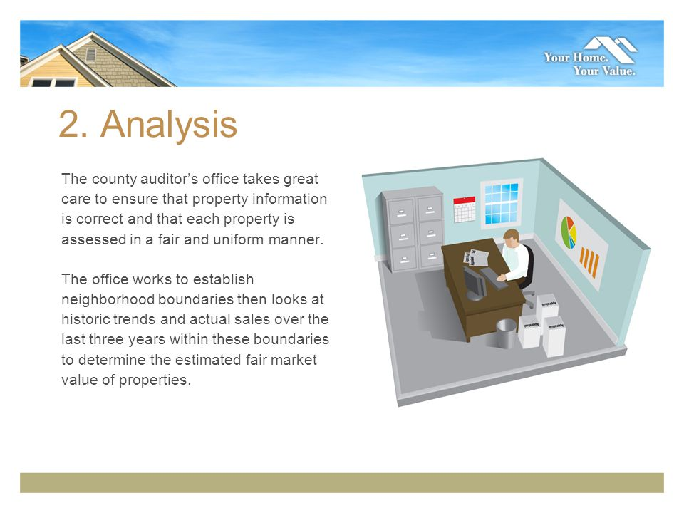 2. Analysis The county auditors office takes great care to ensure that property information is correct and that each property is assessed in a fair an