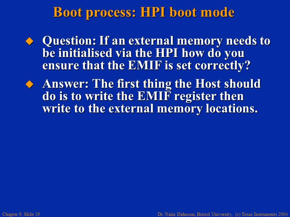 Dr. Naim Dahnoun, Bristol University, (c) Texas Instruments 2004 Chapter 9, Slide 19 Boot process: HPI boot mode Question: If an external memory needs