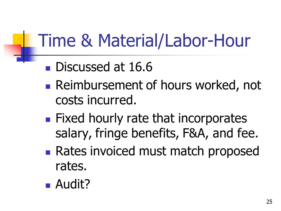 25 Time & Material/Labor-Hour Discussed at 16.6 Reimbursement of hours worked, not costs incurred.