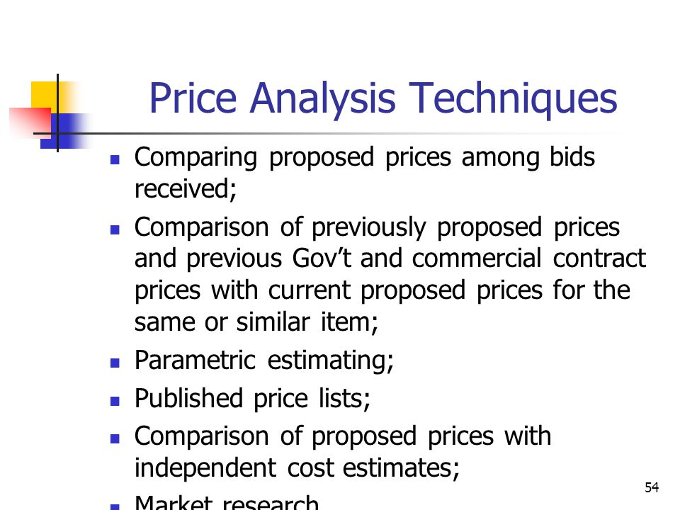54 Price Analysis Techniques Comparing proposed prices among bids received; Comparison of previously proposed prices and previous Govt and commercial contract prices with current proposed prices for the same or similar item; Parametric estimating; Published price lists; Comparison of proposed prices with independent cost estimates; Market research