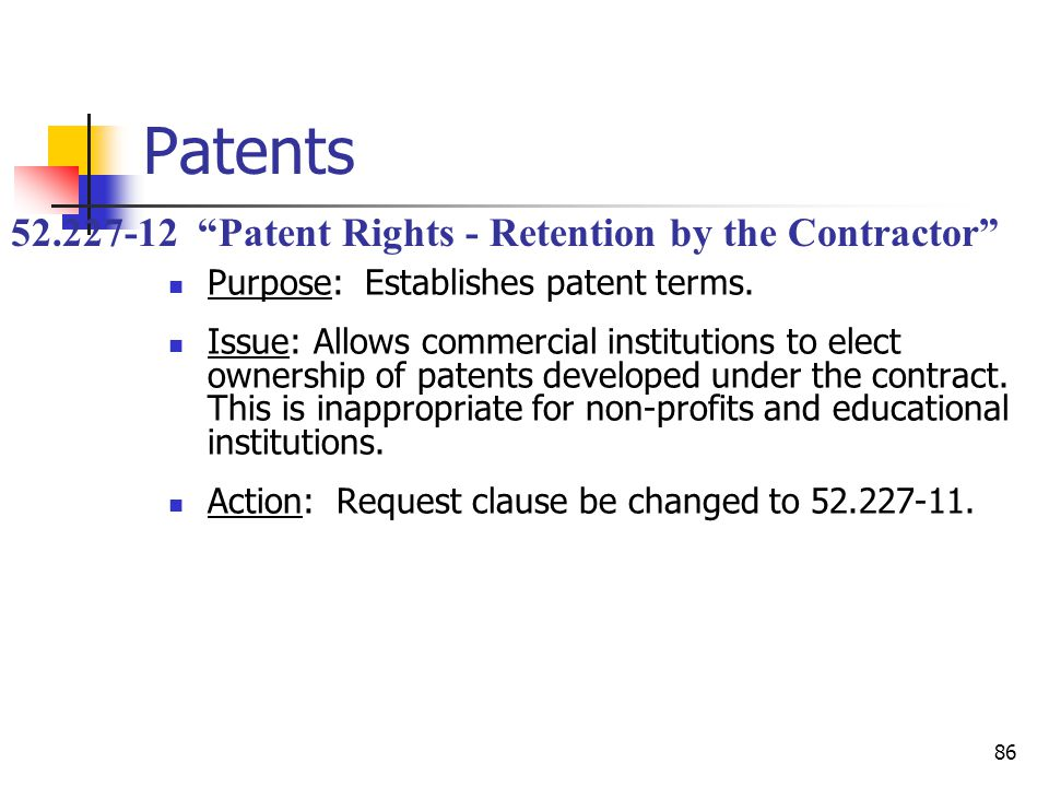 86 Patents Purpose: Establishes patent terms.