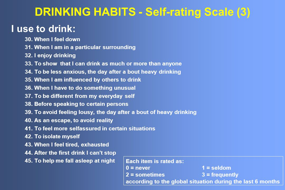DRINKING HABITS - Self-rating Scale (3) I use to drink: 30.