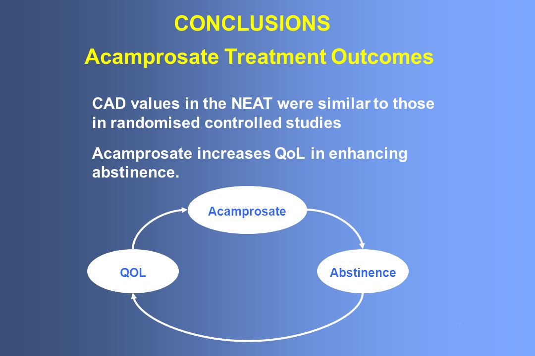 CONCLUSIONS CAD values in the NEAT were similar to those in randomised controlled studies Acamprosate increases QoL in enhancing abstinence.