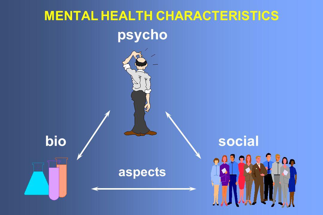 MENTAL HEALTH CHARACTERISTICS bio psycho social aspects