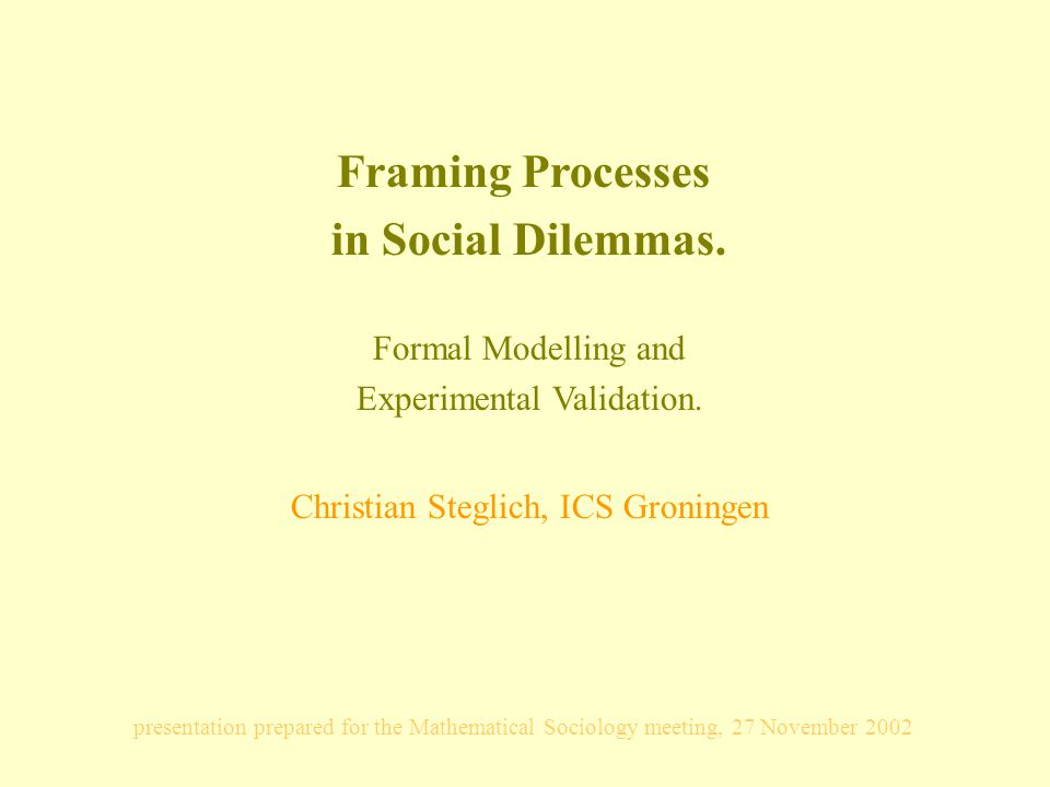 Framing Processes in Social Dilemmas. Formal Modelling and Experimental Validation.