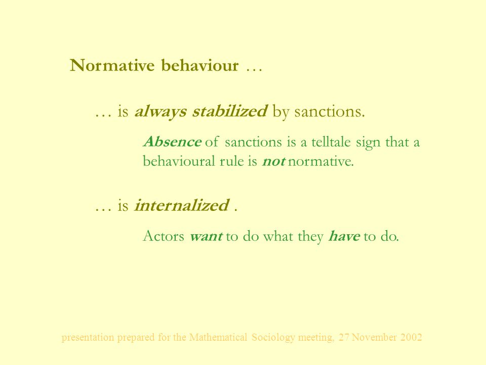 presentation prepared for the Mathematical Sociology meeting, 27 November 2002 Normative behaviour … … is always stabilized by sanctions.