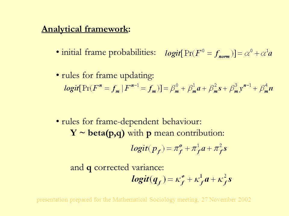 presentation prepared for the Mathematical Sociology meeting, 27 November 2002 Analytical framework: initial frame probabilities: rules for frame updating: rules for frame-dependent behaviour: Y ~ beta(p,q) with p mean contribution: and q corrected variance: