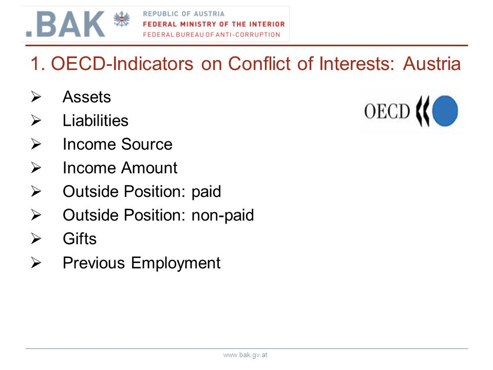 www.bak.gv.at 1. OECD-Indicators on Conflict of Interests: Austria Assets Liabilities Income Source Income Amount Outside Position: paid Outside Posit