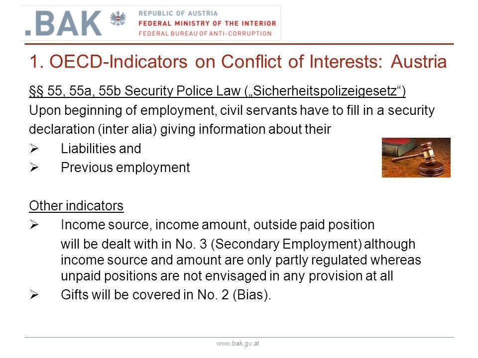 www.bak.gv.at 1. OECD-Indicators on Conflict of Interests: Austria §§ 55, 55a, 55b Security Police Law (Sicherheitspolizeigesetz) Upon beginning of em