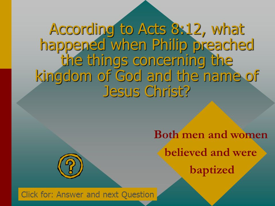 According to Acts 8:10-11, the people heeded Simon when they saw his sorceries because they thought his power was from who? God Click for: Answer and