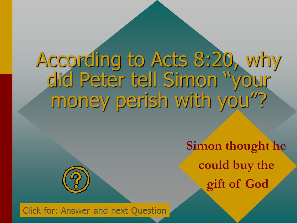According to Acts 8:18-19, what did Simon want to buy from the apostles? The power to give the Holy Spirit by the laying on of hands Click for: Answer
