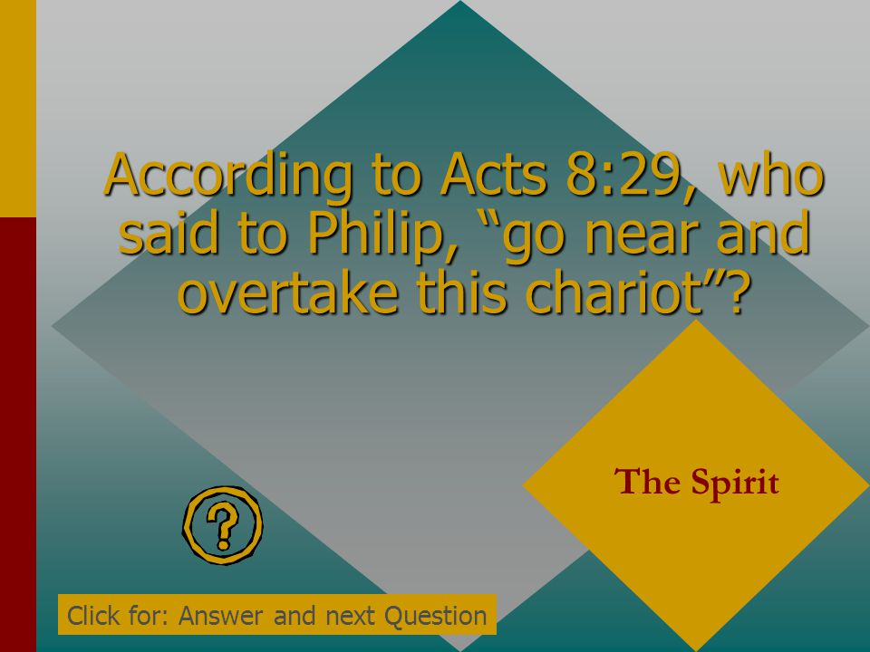 According to Acts 8:28, what was the Ethiopian man reading in his chariot? The prophet Isaiah Click for: Answer and next Question