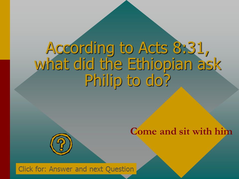 According to Acts 8:30, what did Philip ask the Ethiopian when he heard him reading Isaiah? do you understand what you are reading? Click for: Answer