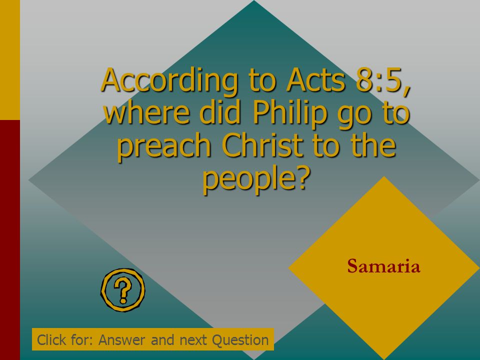 According to Acts 8:4, what did those who were scattered everywhere do? Preach the word Click for: Answer and next Question