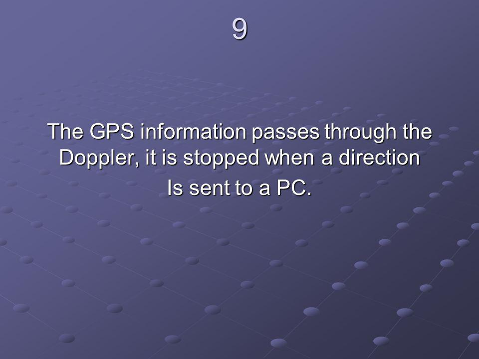 9 The GPS information passes through the Doppler, it is stopped when a direction Is sent to a PC.