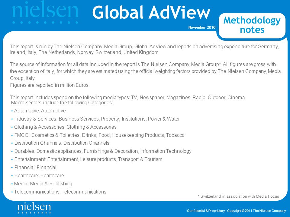 Global AdView Confidential & Proprietary - Copyright © 2011 The Nielsen Company November 2010 About nielsen Contacts E-mail: globaladview@nielsen.comglobaladview@nielsen.com Global AdView Nielsen Global AdView provides international advertising information services and provides clients with intelligence on how their competitors are spending, and creative activity, in more than 80 countries, along with a deep and complete knowledge of local market advertising trends.