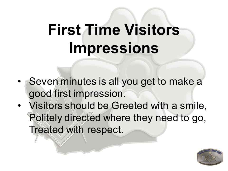 First Time Visitors Impressions Your Lodge: Clean and neat, Signs are the best way a guest can find what they need.