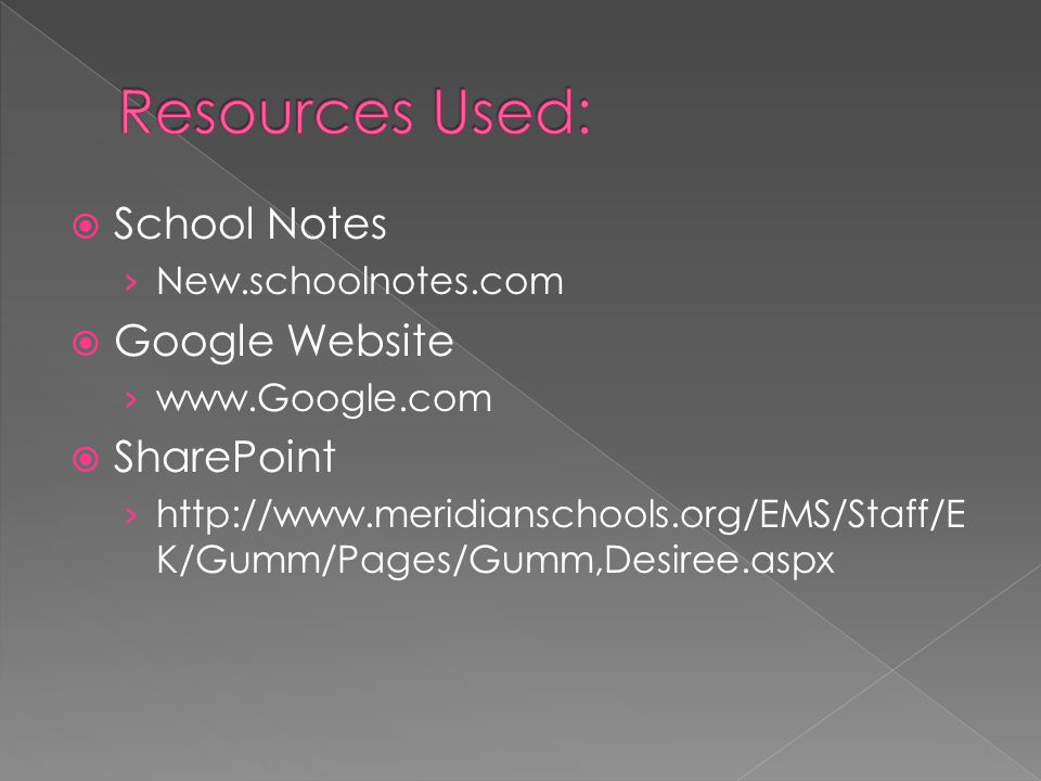 School Notes New.schoolnotes.com Google Website www.Google.com SharePoint http://www.meridianschools.org/EMS/Staff/E K/Gumm/Pages/Gumm,Desiree.aspx