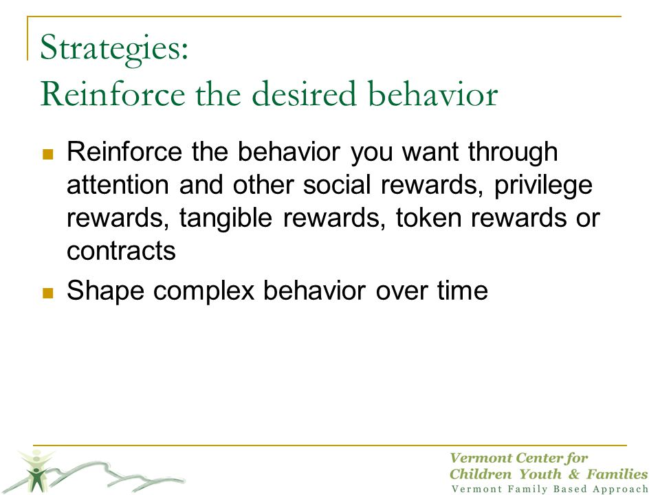 Strategies: Reinforce the desired behavior Reinforce the behavior you want through attention and other social rewards, privilege rewards, tangible rew