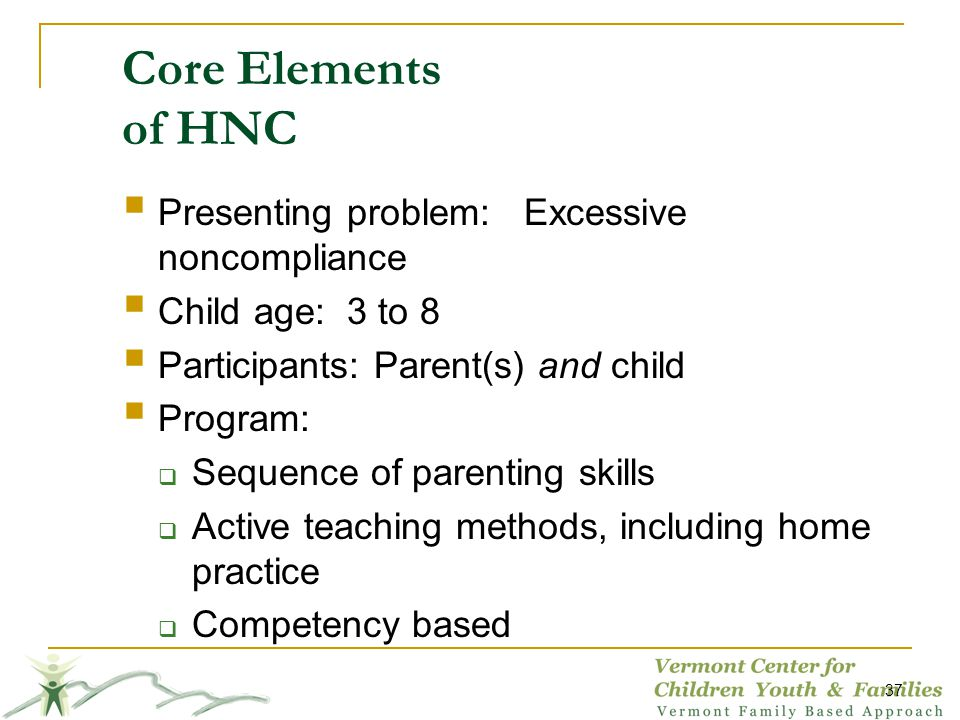 Core Elements of HNC Presenting problem: Excessive noncompliance Child age: 3 to 8 Participants: Parent(s) and child Program: Sequence of parenting skills Active teaching methods, including home practice Competency based 37