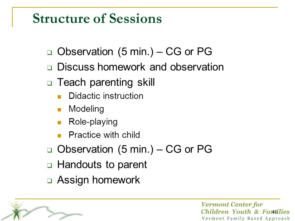 Structure of Sessions Observation (5 min.) – CG or PG Discuss homework and observation Teach parenting skill Didactic instruction Modeling Role-playing Practice with child Observation (5 min.) – CG or PG Handouts to parent Assign homework 40