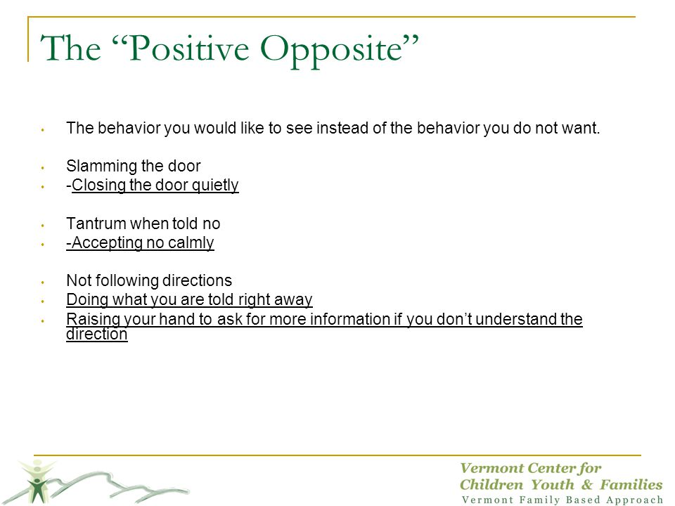 The Positive Opposite The behavior you would like to see instead of the behavior you do not want.