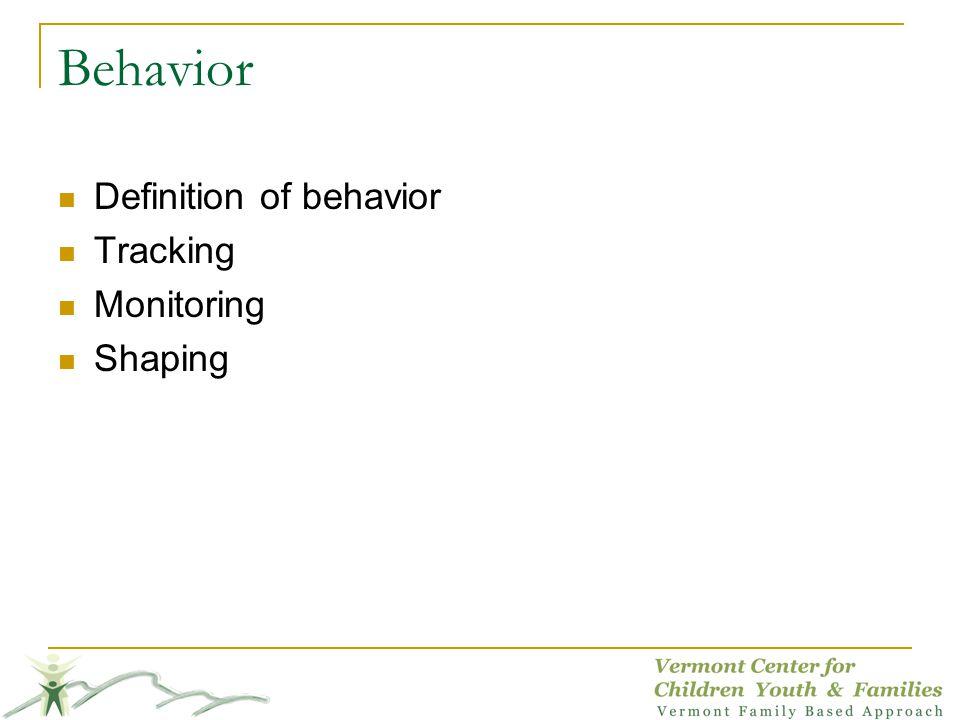 Behavior Definition of behavior Tracking Monitoring Shaping