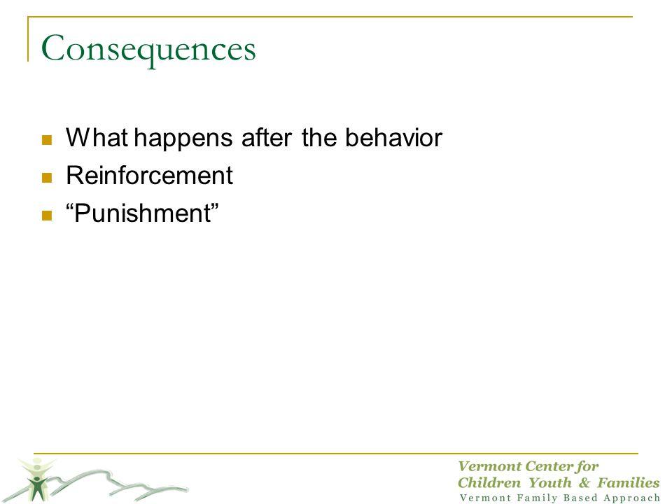 Consequences What happens after the behavior Reinforcement Punishment