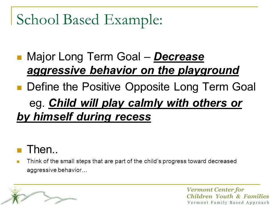 School Based Example: Major Long Term Goal – Decrease aggressive behavior on the playground Define the Positive Opposite Long Term Goal eg. Child will