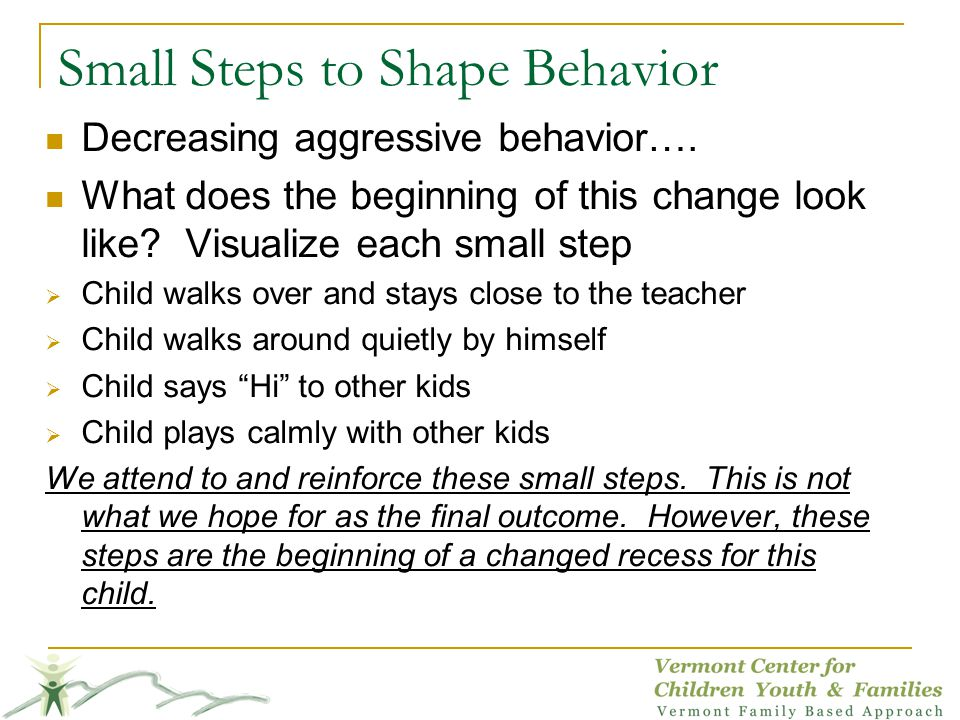 Small Steps to Shape Behavior Decreasing aggressive behavior…. What does the beginning of this change look like? Visualize each small step Child walks