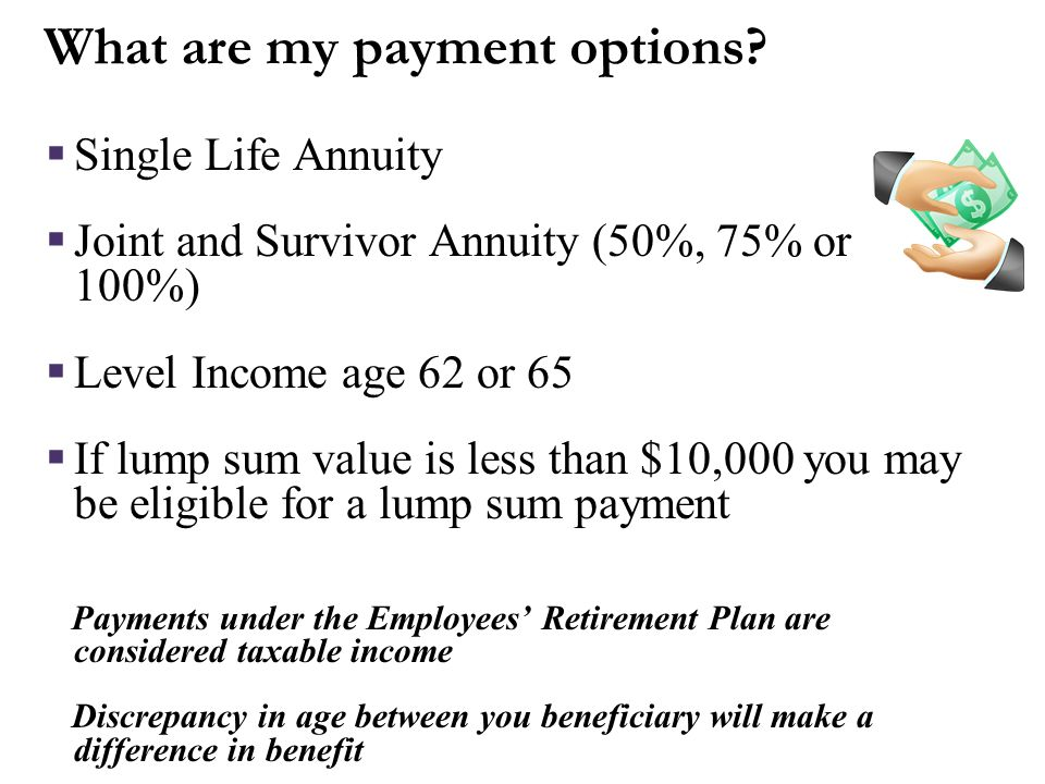 ERP Income Annual benefit at age 65 = $11,268 Less 3% reduction for each year between age 62 & 65: 9% x $11,268 = -$1,014 Annual benefit = $10,254 Mon