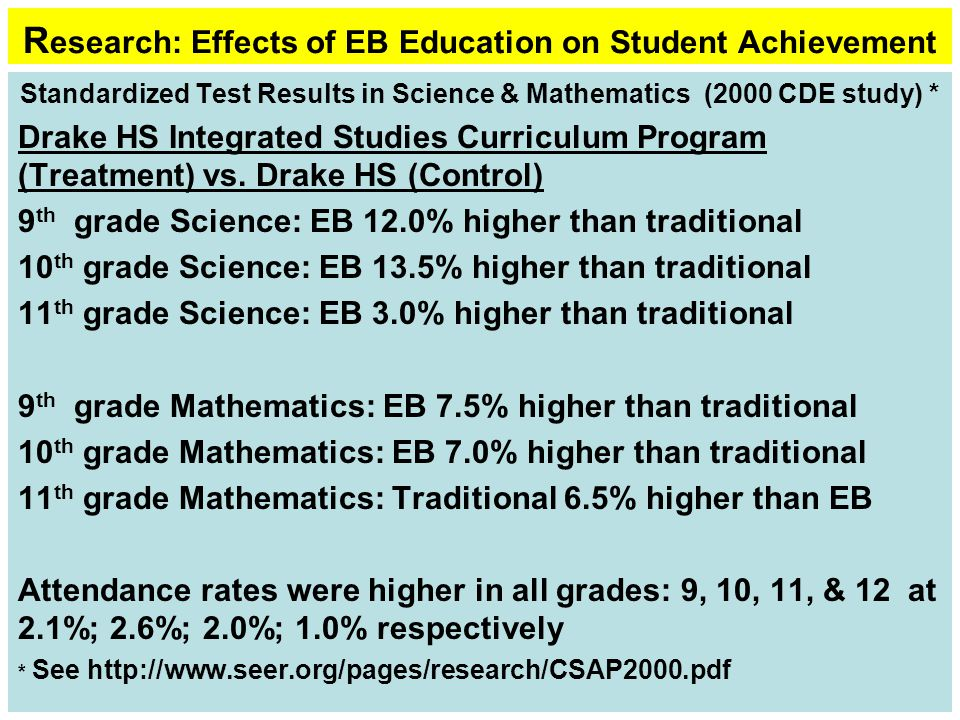 R esearch: Effects of EB Education on Student Achievement Standardized Test Results in Science & Mathematics (2000 CDE study) * Drake HS Integrated Studies Curriculum Program (Treatment) vs.