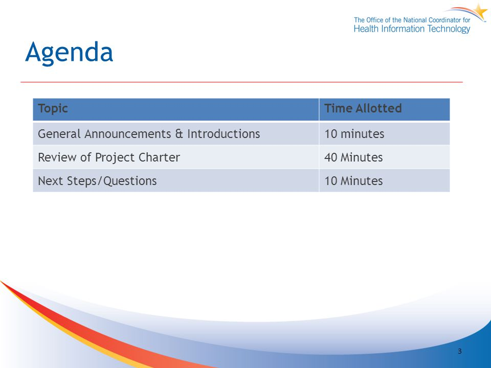 Agenda TopicTime Allotted General Announcements & Introductions10 minutes Review of Project Charter40 Minutes Next Steps/Questions10 Minutes 3