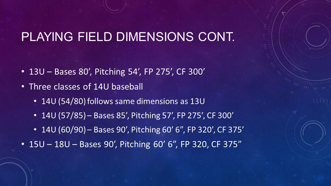 PLAYING FIELD DIMENSIONS CONT. 13U – Bases 80, Pitching 54, FP 275, CF 300 Three classes of 14U baseball 14U (54/80) follows same dimensions as 13U 14