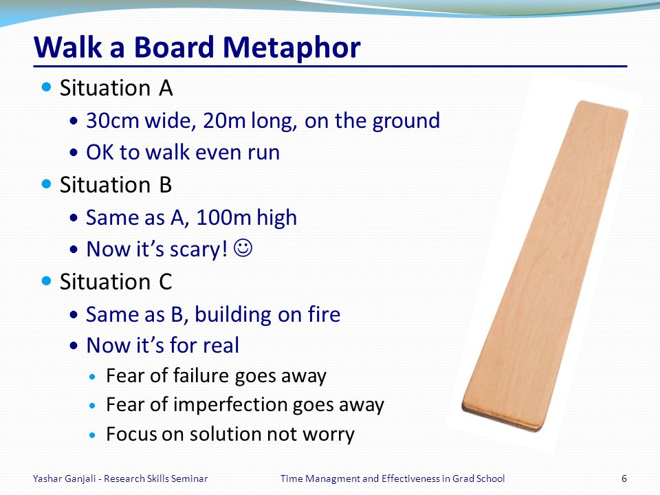 Walk a Board Metaphor Situation A 30cm wide, 20m long, on the ground OK to walk even run Situation B Same as A, 100m high Now its scary! Situation C S