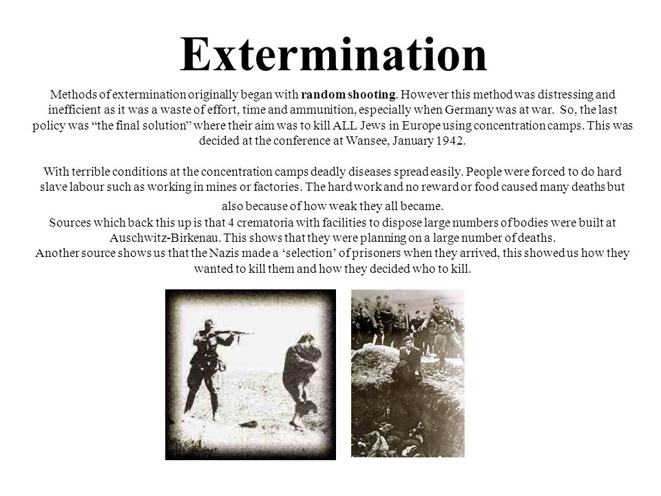 Extermination Methods of extermination originally began with random shooting.