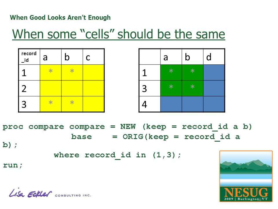 When Good Looks Arent Enough proc compare compare = NEW (keep = record_id a b) base = ORIG(keep = record_id a b); where record_id in (1,3); run; record _id abc 1** 2 3** abd 1** 3** 4 When some cells should be the same 19
