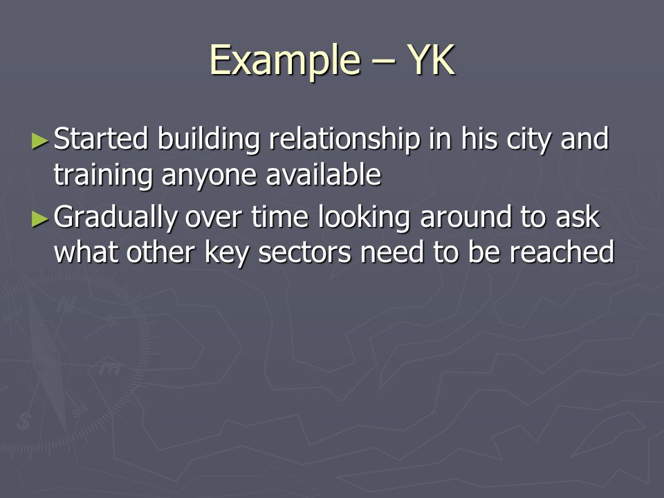 Example – YK Started building relationship in his city and training anyone available Started building relationship in his city and training anyone ava