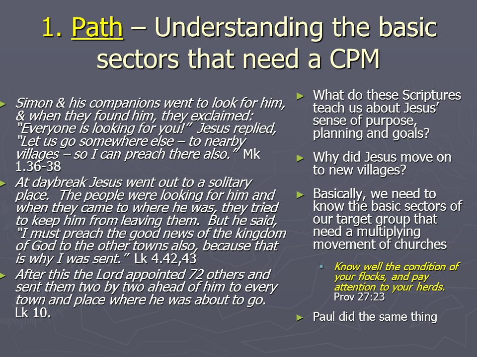 1. Path – Understanding the basic sectors that need a CPM Simon & his companions went to look for him, & when they found him, they exclaimed: Everyone