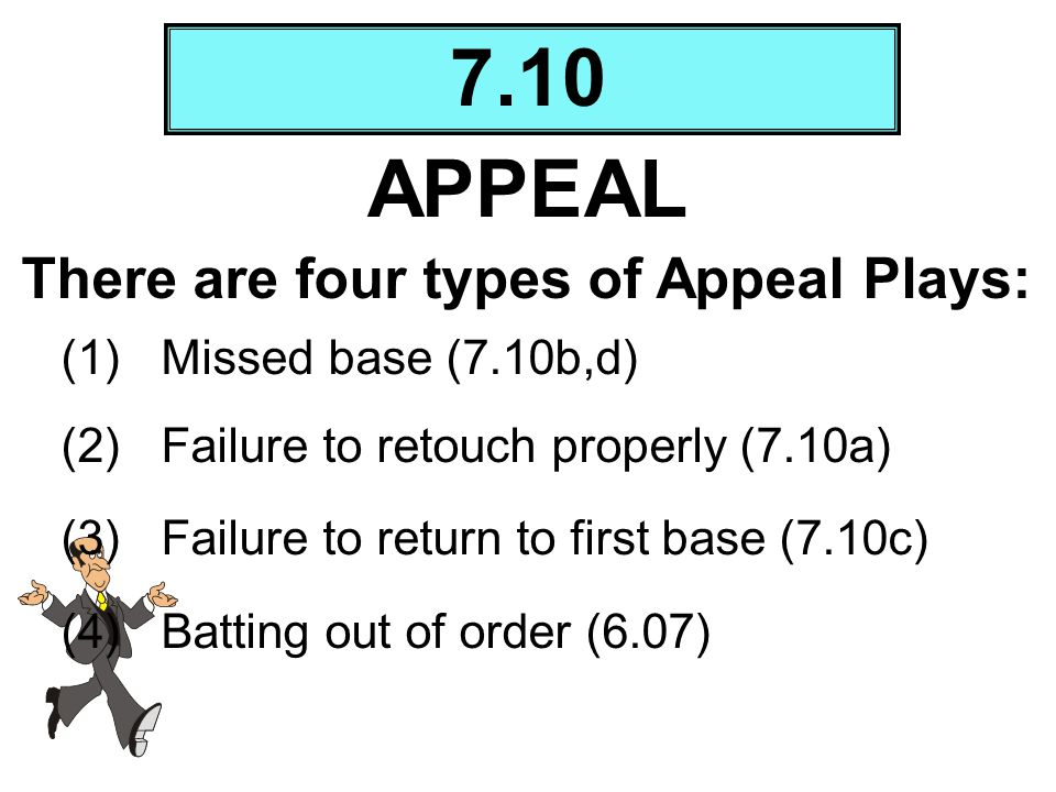 7.10 APPEAL (1)Missed base (7.10b,d) (2)Failure to retouch properly (7.10a) (3)Failure to return to first base (7.10c) (4)Batting out of order (6.07)