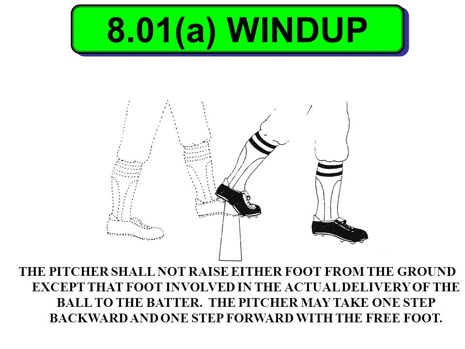 8.01(a) WINDUP THE PITCHER SHALL NOT RAISE EITHER FOOT FROM THE GROUND EXCEPT THAT FOOT INVOLVED IN THE ACTUAL DELIVERY OF THE BALL TO THE BATTER. THE