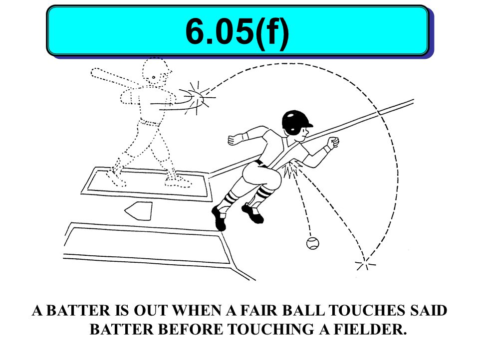 6.05(f) A BATTER IS OUT WHEN A FAIR BALL TOUCHES SAID BATTER BEFORE TOUCHING A FIELDER.